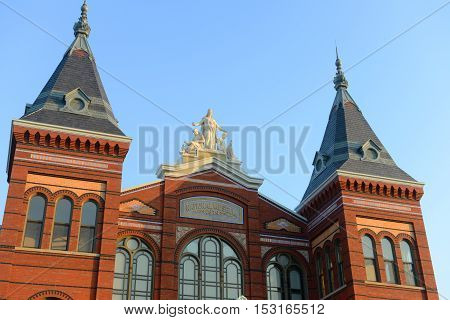 WASHINGTON DC - JUN 22, 2014: Arts and Industries Building is the masterpiece of Victorian architecture. This building belongs to Smithsonian museums, Washington DC, USA.