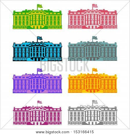 White House America Colored Icon Set. Residence Of President Usa. Us Government Building. American P