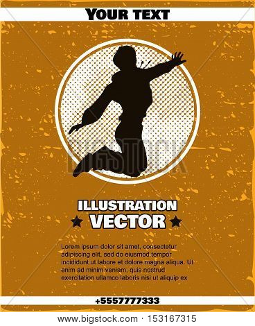 Poster with hand drawn joyful young hip-hop style teenage girl. Vector illustration