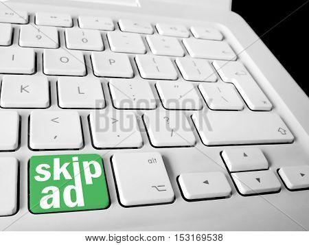 Skip Ad Key On White Keyboard