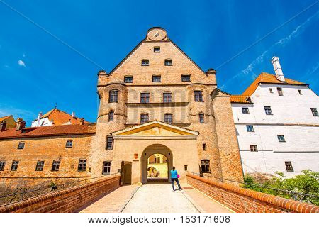 Landshut, Germany - July 04, 2016: Walls of Trausnitz medieval castle in Landshut town. This castle was a seat of the hereditary rulers of the whole of Bavaria