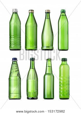 set of green Glass bottles of soda water. Isolated on white background