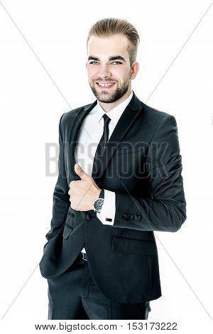 Handsome bearded man wearing suit, portrait shot in studio