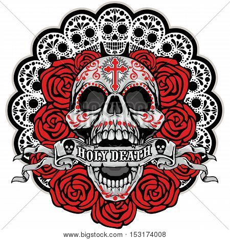 Holy Death, Day of the Dead, mexican sugar skull with roses