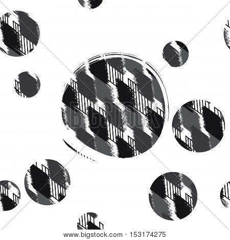 Vector illustration of seamless pattern spotty rhombuses with circle. Abstract background made using of brush smears. hand drawn texture. Trendy hipster print. Modern stylish texture. Repeating geometric tiles with rhombus