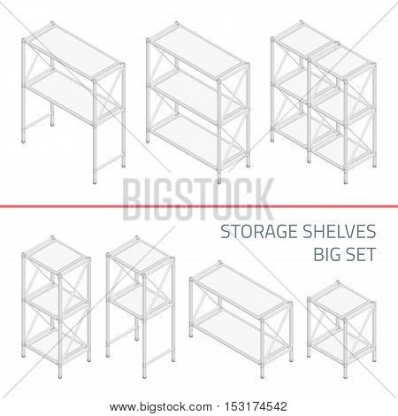 Big set of empty metal Isometric 3D Shelvings. Warehouse storage concept. The set of objects isolated against the white background and shown from different sides. Design elements.