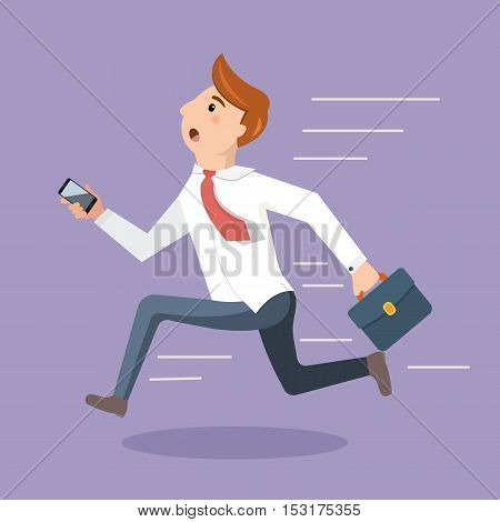 Employee rush to the office and run to the beginning of the working day. Business man late for an appointment. Vector illustration in a flat style.