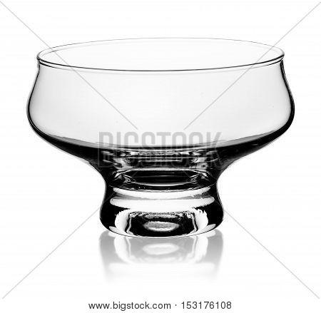 Empty glass ice cream dish isolated on white background