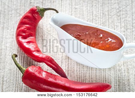 Bowl of thai sweet chili sauce with fresh chili peppers