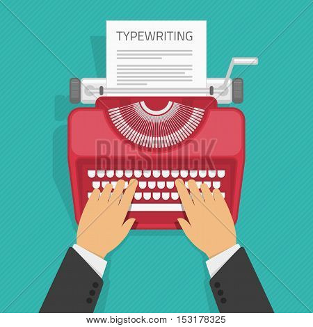 Man typing on the vintage typewriter with paper. Writing a blog, text development tools. Business background concepts for promotion and blogging.