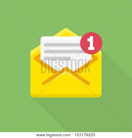 Email notification icon. Vector illustration of letter in yellow cover. Flat modern design element. Concept of newsletter, notify, support, incoming, confirm.