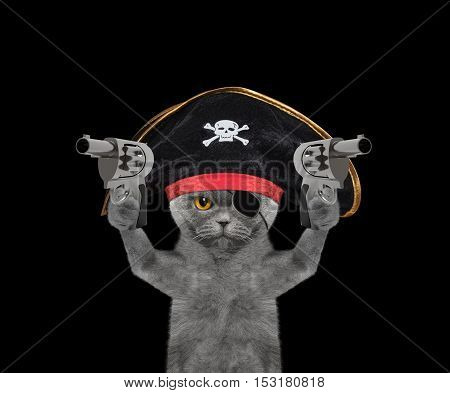 cat in a pirate costume with guns -- isolated on black
