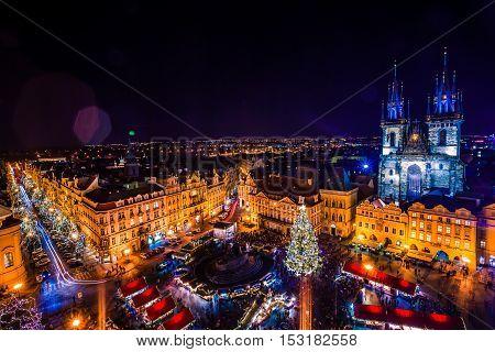 PRAGUE CZECH REPUBLIC - DECEMBER 22 2015: Christmas in Old Town Square in Prague Czech republic