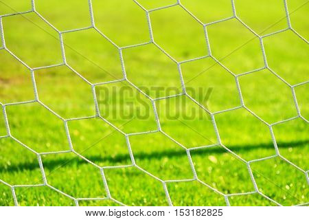 Football gate net. Close up shoot. Soccer gate net