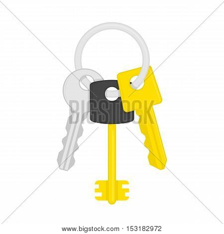 Keys on key ring isolated on white background. Illustration of bunch of golden and silver keys on keyring in flat style. Key icon cartoon design element. Security concept.