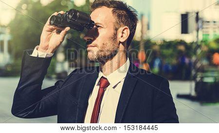 Businessman Binoculars Vision Strategy the Way Forward Concept
