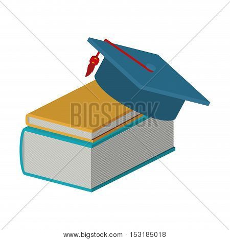 academic books stack with graduation cap over white background. colorful design. vector illustration