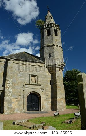 An exterior view of an old church building near Dairsie