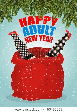 Prostitute In Red Sack Of Santa Claus. Happy Adult New Year. Whore For Present. Congratulations For