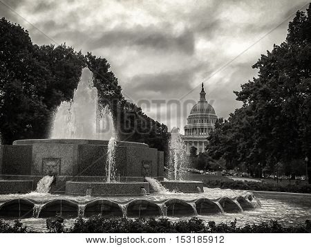 Capitol Hill in Washington DC black an withe