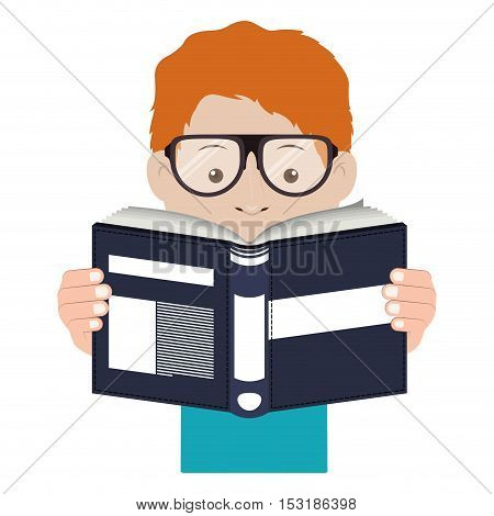 avatar male man wearing glasses and reading a blue book with white labels over white background. vector illustration