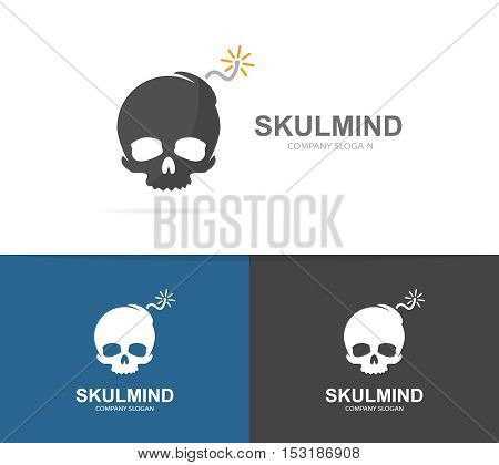 Vector logo combination of a skull and bomb. Explosion and dead logo. Skull and bomb symbol or icon. Unique danger and destruction logo design template. Creative bomb head logo.