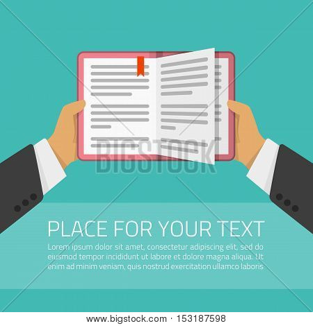 Vector illustration hands with book. Concept of knowledge, education, study, learning or education online. Design in flat style.
