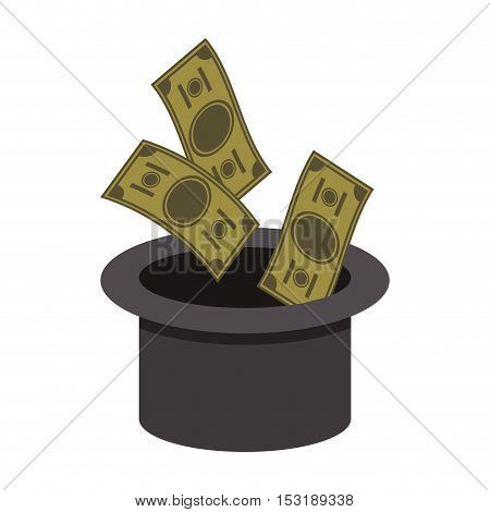 top hat with money green bills over white background. vector illustration
