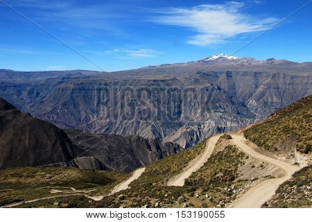 Cotahuasi Canyon Peru with road leading into deep canyon, one of the deepest and most beautiful canyons in the world