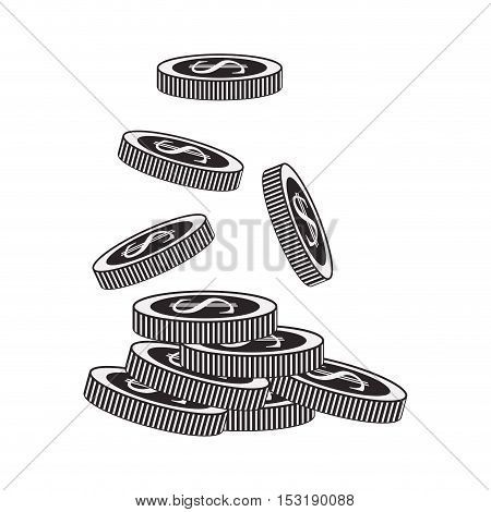 money coins icon. financial item. over white background. vector illustration