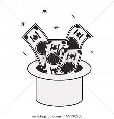 top hat with money bills over white background. vector illustration