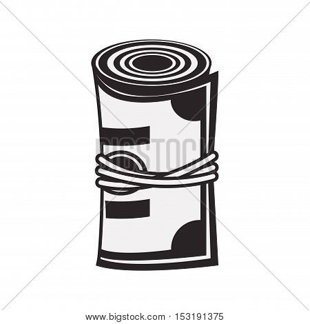 wad of cash. money bills icon over white background. vector illustration