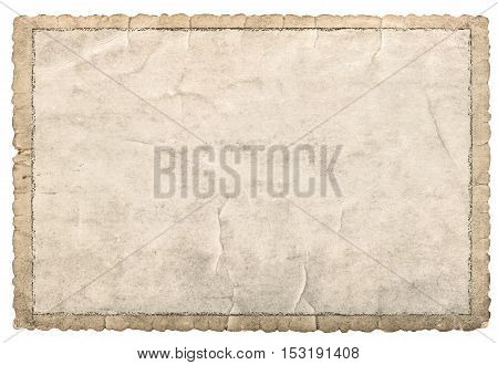 Old paper frame for photos and pictures. Used cardboard texture with carved edges isolated on white background