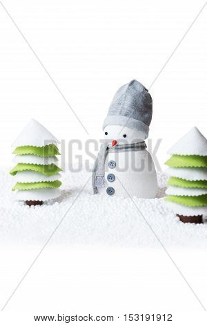 Cute festive snowman isolated on white background space for text