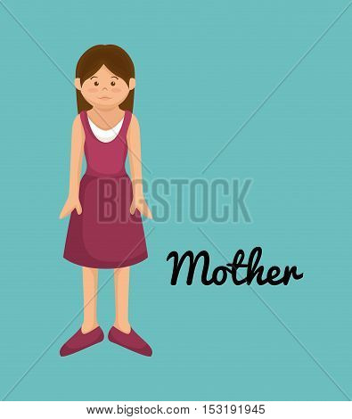 beautiful mother family member vector illustration design