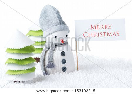 Cute festive snowman with Merry Christmas sign isolated on white background