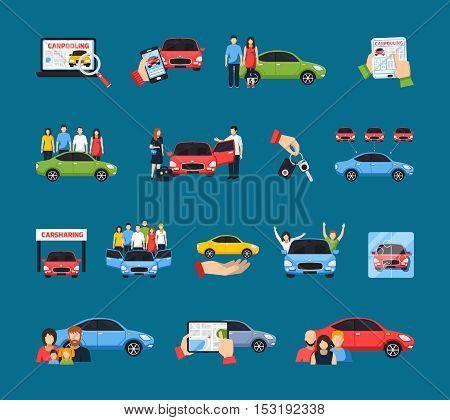 Carsharing icons set with carpooling symbols on blue background flat isolated vector illustration