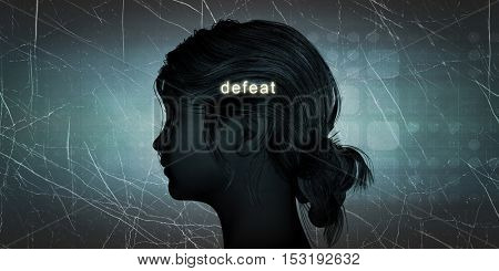 Woman Facing Defeat as a Personal Challenge Concept 3D Illustration Render