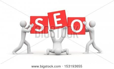 3d people and word SEO. Improvisation on SEO. 3d illustration