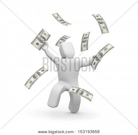 3D person enjoys flying around him money. Payday. 3d illustration