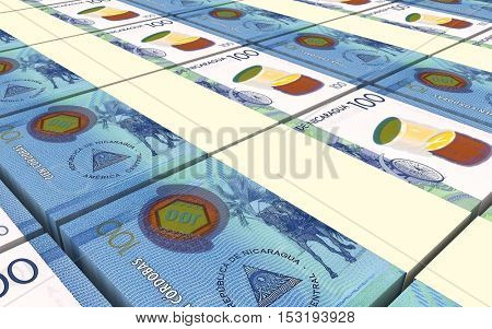 Nicaraguan cordoba bills stacks background. 3D illustration.