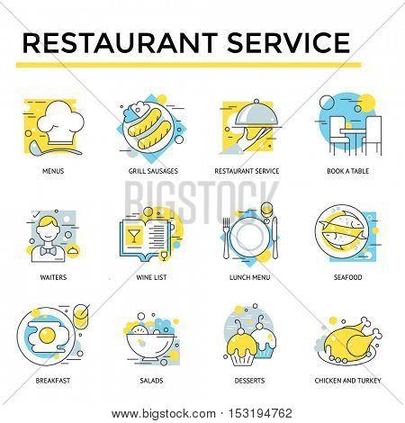Restaurant icons, thin line, flat design