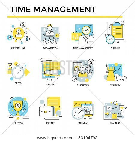 Time management concept icons, thin line, flat design