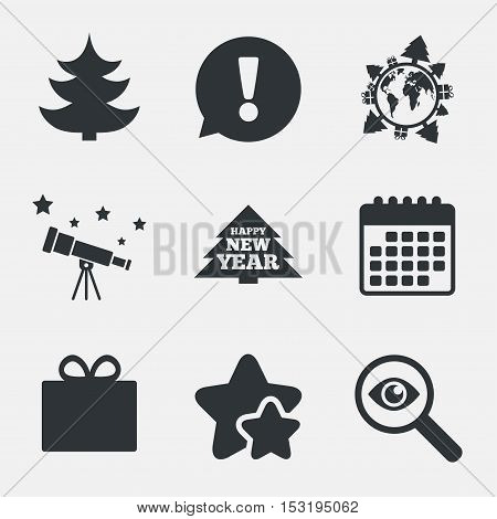 Happy new year icon. Christmas trees and gift box signs. World globe symbol. Attention, investigate and stars icons. Telescope and calendar signs. Vector