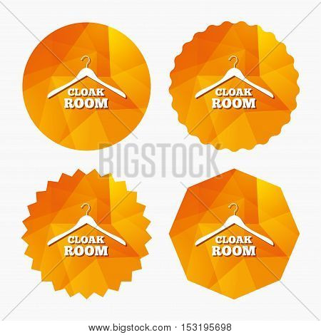 Cloakroom sign icon. Hanger wardrobe symbol. Triangular low poly buttons with flat icon. Vector
