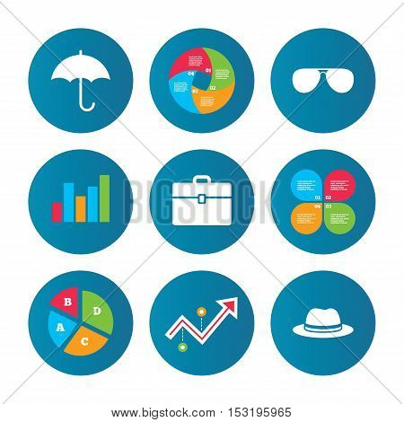 Business pie chart. Growth curve. Presentation buttons. Clothing accessories icons. Umbrella and sunglasses signs. Headdress hat with business case symbols. Data analysis. Vector