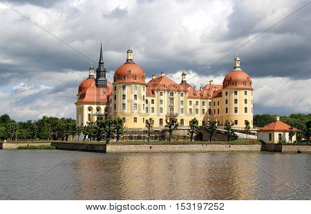 Beautiful view of castle Moritzburg Saxony Germany