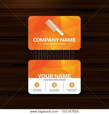 Business or visiting card template. Comb hair sign icon. Barber symbol. Phone, globe and pointer icons. Vector