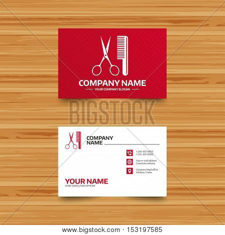 Business card template. Comb hair with scissors sign icon. Barber symbol. Phone, globe and pointer icons. Visiting card design. Vector