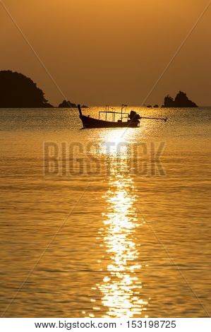 Beautiful sunset above the sea in Thailand.